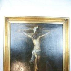Arte: BELLÍSIMA COPIA DEL CRISTO DE MURILLO. OLEO SOBRE LIENZO. CRISTO CRUCIFICADO. SIGLO XVIII. ENMARCADO. Lote 218626447