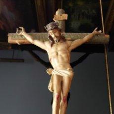 Arte: CRISTO CRUCIFICADO TALLA MADERA SIGLO XIX. Lote 218638342