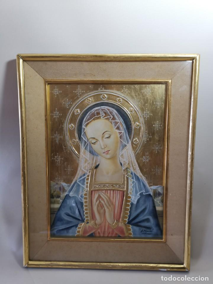 Arte: Virgen María pintura técnica mixta con relieve estuco y dorados c. 1940 - 1950, firmado J. Pifarré. - Foto 2 - 218673293
