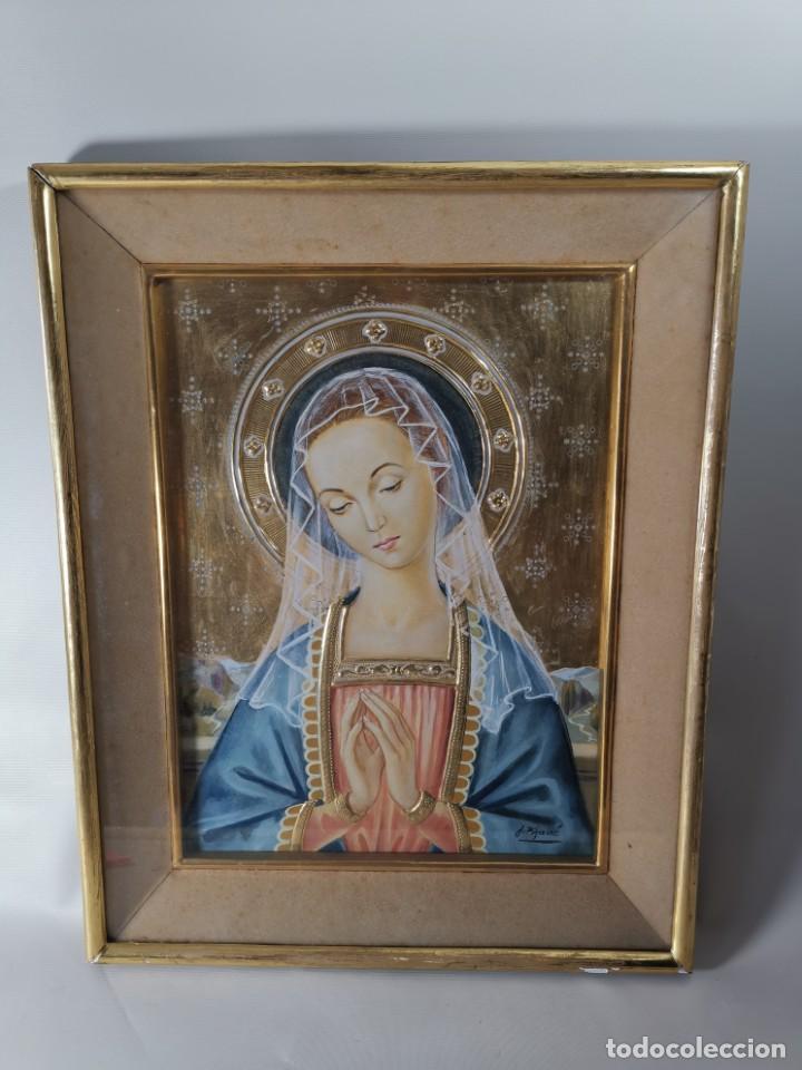 Arte: Virgen María pintura técnica mixta con relieve estuco y dorados c. 1940 - 1950, firmado J. Pifarré. - Foto 3 - 218673293