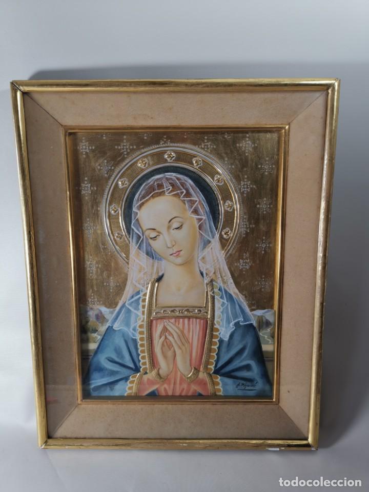 Arte: Virgen María pintura técnica mixta con relieve estuco y dorados c. 1940 - 1950, firmado J. Pifarré. - Foto 4 - 218673293