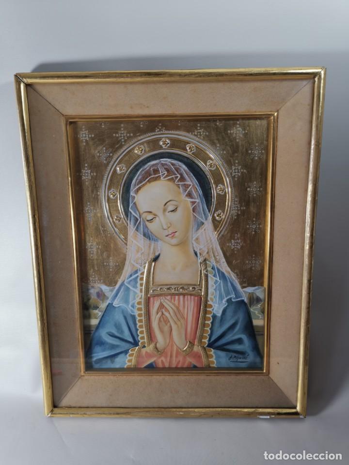 Arte: Virgen María pintura técnica mixta con relieve estuco y dorados c. 1940 - 1950, firmado J. Pifarré. - Foto 5 - 218673293