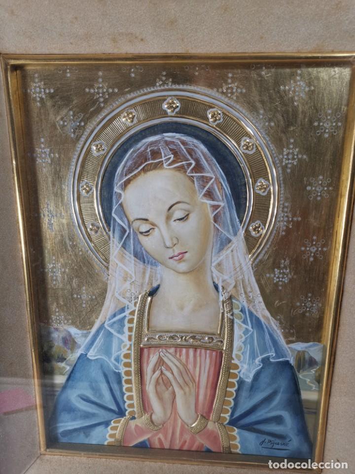 Arte: Virgen María pintura técnica mixta con relieve estuco y dorados c. 1940 - 1950, firmado J. Pifarré. - Foto 6 - 218673293