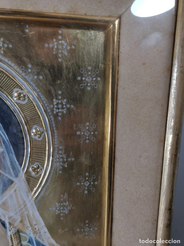 Arte: Virgen María pintura técnica mixta con relieve estuco y dorados c. 1940 - 1950, firmado J. Pifarré. - Foto 9 - 218673293