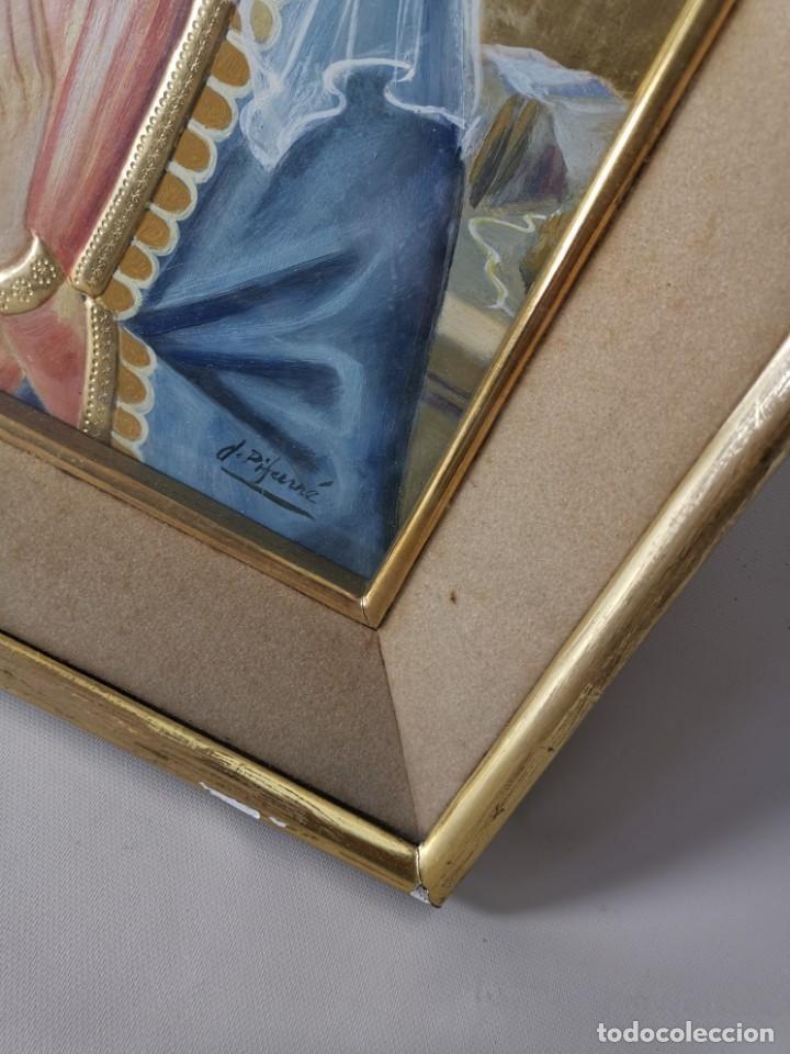 Arte: Virgen María pintura técnica mixta con relieve estuco y dorados c. 1940 - 1950, firmado J. Pifarré. - Foto 10 - 218673293