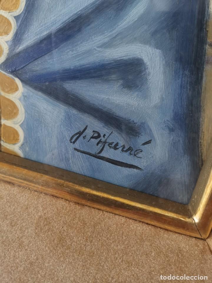 Arte: Virgen María pintura técnica mixta con relieve estuco y dorados c. 1940 - 1950, firmado J. Pifarré. - Foto 11 - 218673293