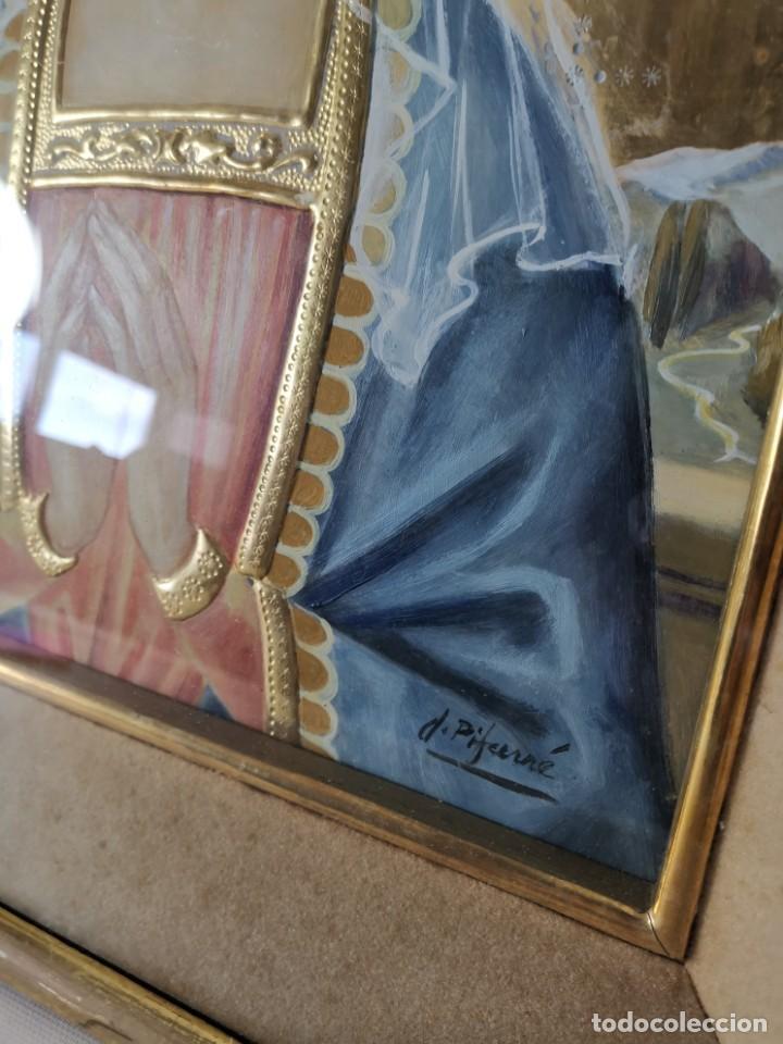 Arte: Virgen María pintura técnica mixta con relieve estuco y dorados c. 1940 - 1950, firmado J. Pifarré. - Foto 19 - 218673293