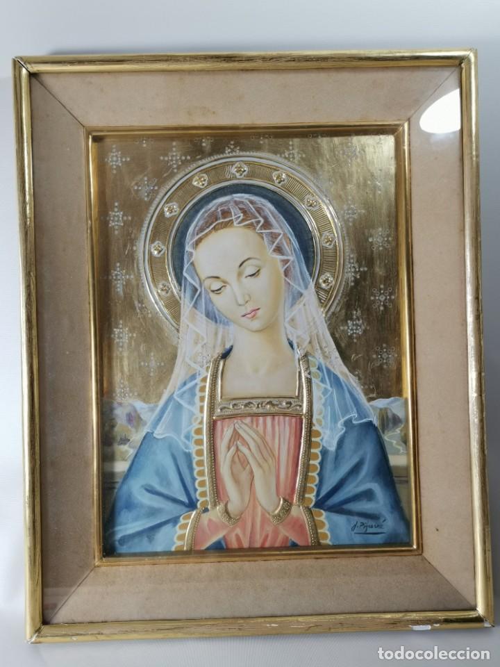 Arte: Virgen María pintura técnica mixta con relieve estuco y dorados c. 1940 - 1950, firmado J. Pifarré. - Foto 21 - 218673293