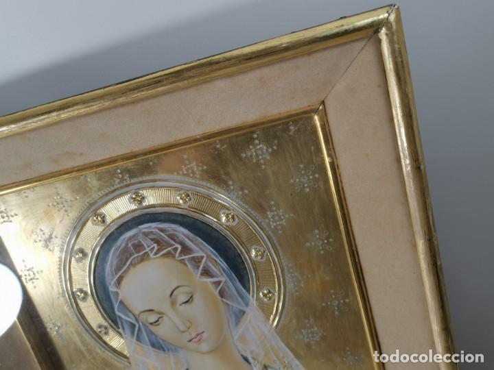 Arte: Virgen María pintura técnica mixta con relieve estuco y dorados c. 1940 - 1950, firmado J. Pifarré. - Foto 23 - 218673293