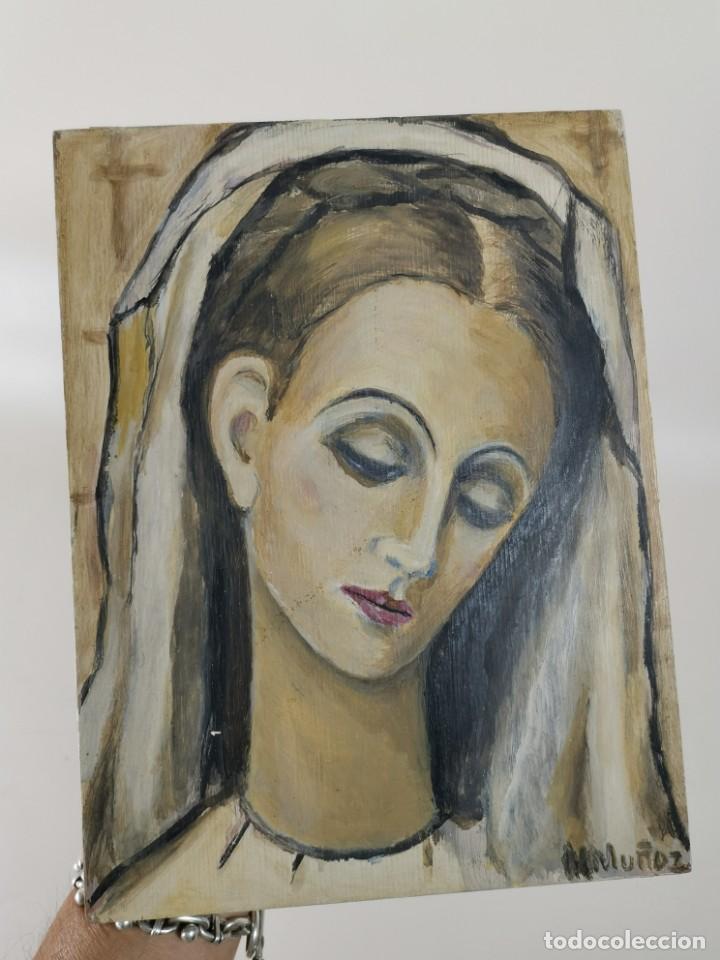 Arte: VIRGEN MARÍA PINTURA SOBRE TABLA FIRMADO MARGARITA MUÑOZ,,DEDICADO 1968 A MERCEDES DOMENECH - Foto 2 - 218675222