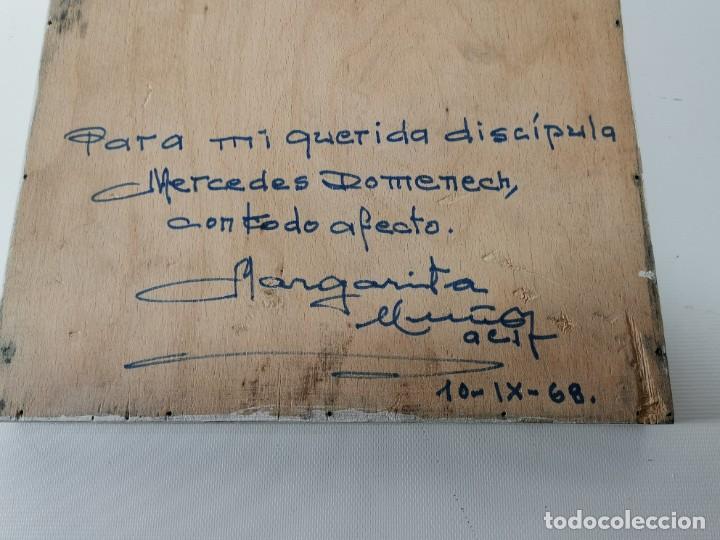 Arte: VIRGEN MARÍA PINTURA SOBRE TABLA FIRMADO MARGARITA MUÑOZ,,DEDICADO 1968 A MERCEDES DOMENECH - Foto 8 - 218675222