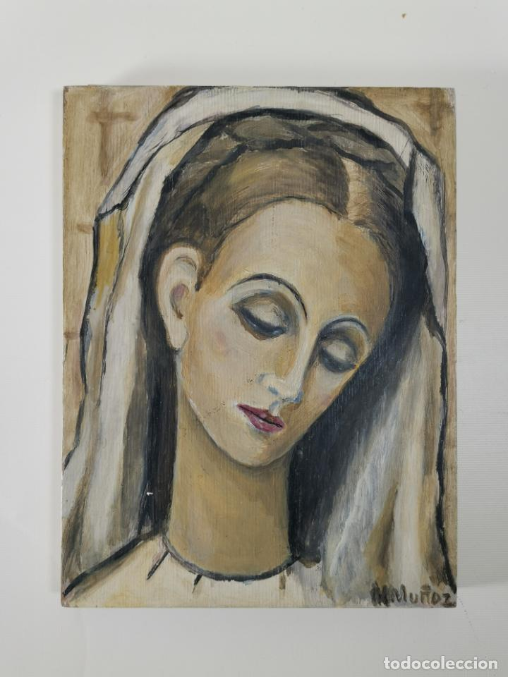 VIRGEN MARÍA PINTURA SOBRE TABLA FIRMADO MARGARITA MUÑOZ,,DEDICADO 1968 A MERCEDES DOMENECH (Arte - Arte Religioso - Pintura Religiosa - Oleo)