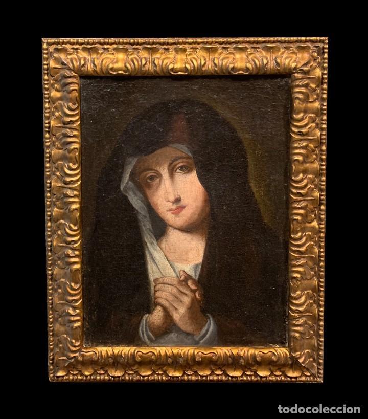 VIRGEN DOLOROSA SIGUIENDO MODELOS SASSOFERRATO (Arte - Arte Religioso - Pintura Religiosa - Oleo)