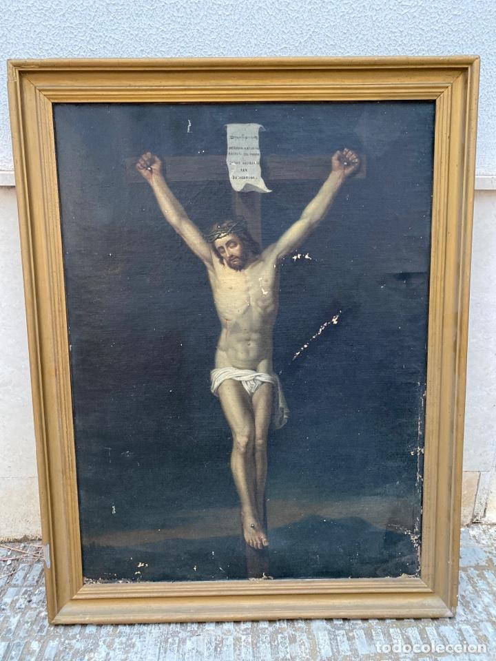 ANTIGUO OLEO SOBRE LIENZO CRISTO CRUCIFICADO (Arte - Arte Religioso - Pintura Religiosa - Oleo)