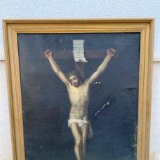 Arte: ANTIGUO OLEO SOBRE LIENZO CRISTO CRUCIFICADO. Lote 218731912