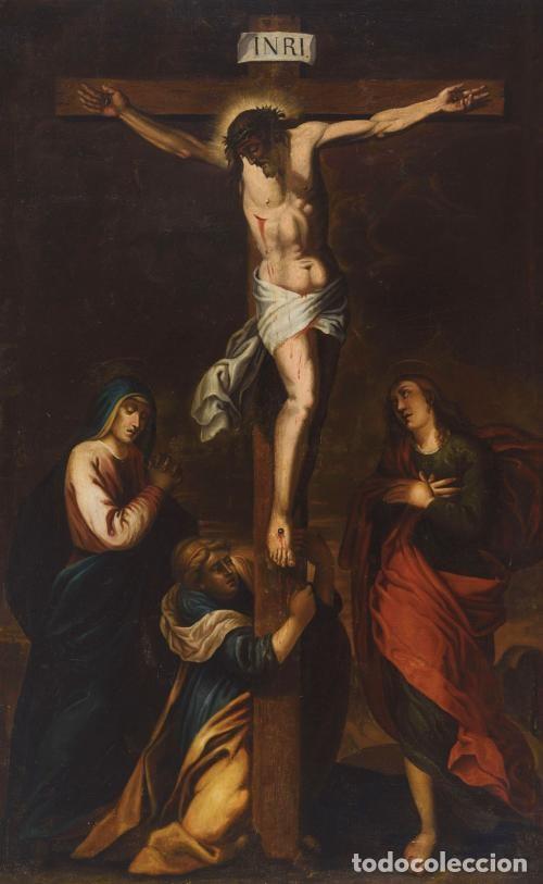 CALVARIO. SIGLO XVII. ESCUELA ESPAÑOLA. OLEO SOBRE LIENZO 171X105. (Arte - Arte Religioso - Pintura Religiosa - Oleo)