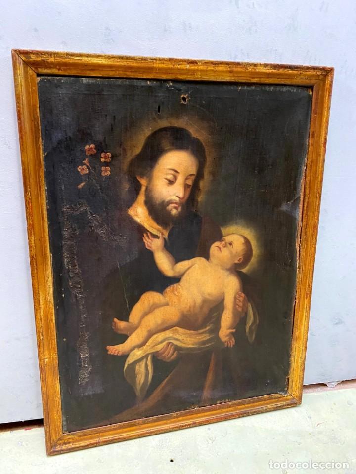 ANTIGUO ÓLEO SOBRE LIENZO CON MARCO DORADO AL ORO FINO. SAN JOSÉ CON EL NIÑO JESÚS. XVII. 90X70 (Arte - Arte Religioso - Pintura Religiosa - Oleo)