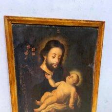 Arte: ANTIGUO ÓLEO SOBRE LIENZO CON MARCO DORADO AL ORO FINO. SAN JOSÉ CON EL NIÑO JESÚS. XVII. 90X70. Lote 218800063