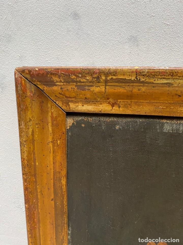 Arte: Antiguo óleo sobre lienzo con marco dorado al oro fino. San José con el niño Jesús. XVII. 90x70 - Foto 2 - 218800063