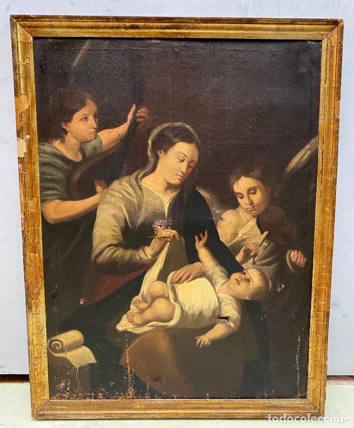 ANTIGUA NATIVIDAD, NACIMIENTO, ÓLEO SOBRE LIENZO CON MARCO DORADO AL ORO FINO. 90X70. SIGLO XVII (Arte - Arte Religioso - Pintura Religiosa - Oleo)
