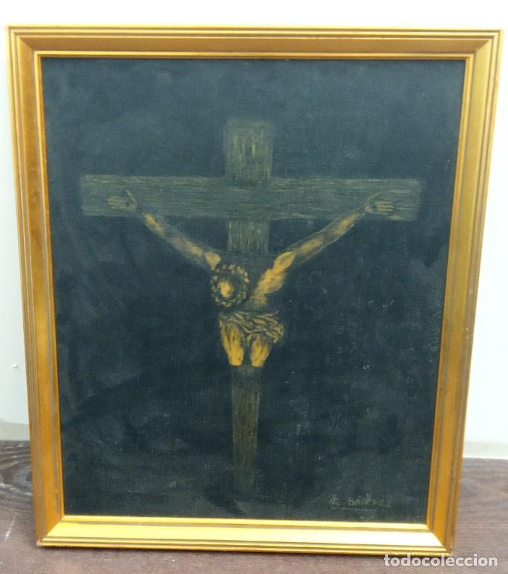 Arte: Pintura sobre Tablex Crucifixión de Jesús firmado - Foto 3 - 218807387