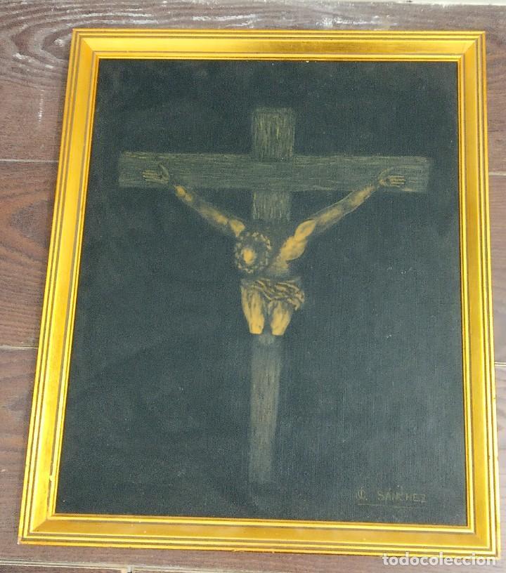 Arte: Pintura sobre Tablex Crucifixión de Jesús firmado - Foto 5 - 218807387
