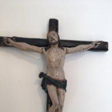 Arte: ANTIGUA TALLA DE MADERA DE CRISTO EN LA CRUZ - SIGLO XVII. Lote 218960903