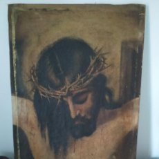 Arte: ÓLEO LIENZO IMAGEN CABEZA DE CRISTO CRUCIFICADO FECHADO EN 1921 CON FIRMA. Lote 219008563