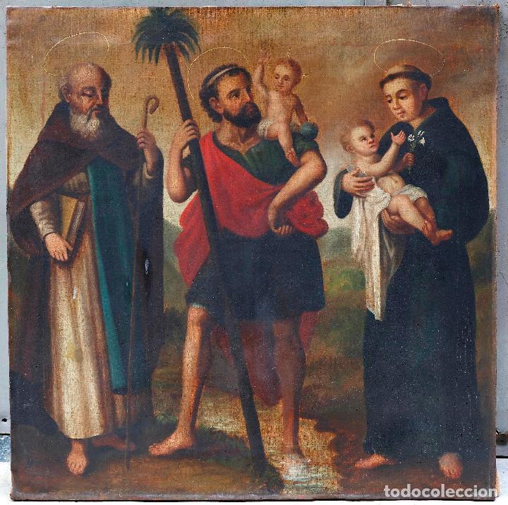 SAN ANTONIO ABAD, SAN CRISTÓBAL Y SAN ANTONIO DE PÁDUA, SIGLO XVIII, PINTURA AL ÓLEO SOBRE TELA. (Arte - Arte Religioso - Pintura Religiosa - Oleo)