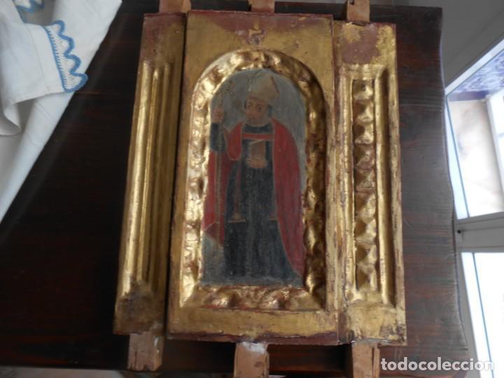 Arte: CONJUNTO TALLAS ANTIGUAS DE MADERA ARZOBISPO SAN ISIDORO DE SEVILLA AL OLEO Y COLUMNAS - Foto 3 - 219206297