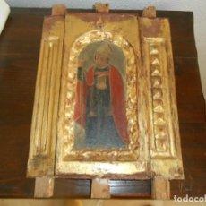 Arte: CONJUNTO TALLAS ANTIGUAS DE MADERA ARZOBISPO SAN ISIDORO DE SEVILLA AL OLEO Y COLUMNAS. Lote 219206297