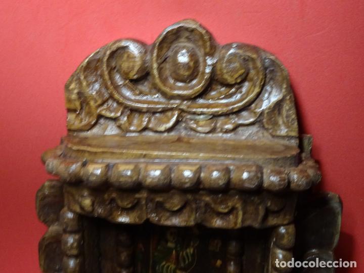 Arte: capilla colonial siglo XVIII oleo y madera policromada, Virgen Niña.retablo Hornacina - Foto 2 - 219239463