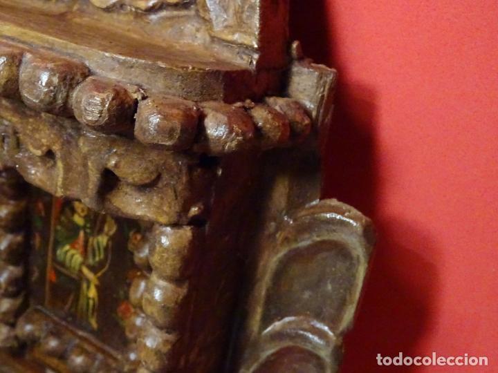 Arte: capilla colonial siglo XVIII oleo y madera policromada, Virgen Niña.retablo Hornacina - Foto 5 - 219239463