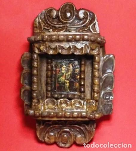 CAPILLA COLONIAL SIGLO XVIII OLEO Y MADERA POLICROMADA, VIRGEN NIÑA.RETABLO HORNACINA (Arte - Arte Religioso - Retablos)