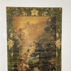 Arte: PINTURA RELIGIOSA SOBRE TELA SIGLO XVII . SAN ANTONIO DE PADUA CON EL NIÑO JESÚS, 95X65 CM .. Lote 219248551