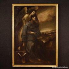 Arte: PINTURA RELIGIOSA ESPAÑOLA ANTIGUA SAN FRANCISCO CON ÁNGEL DEL SIGLO XVII. Lote 219250128