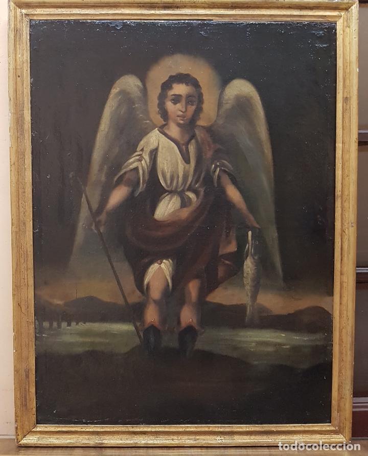 OLEO SOBRE TELA ANONIMO SAN TOBIAS SXVIII (Arte - Arte Religioso - Pintura Religiosa - Oleo)