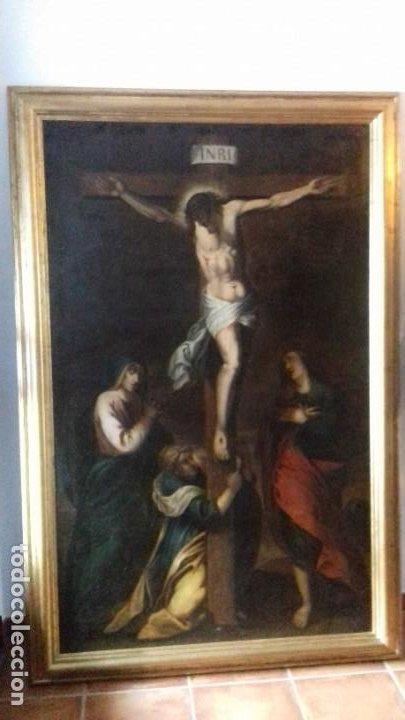 Arte: CALVARIO. SIGLO XVII. ESCUELA ESPAÑOLA. OLEO SOBRE LIENZO 171X105. - Foto 3 - 94576335