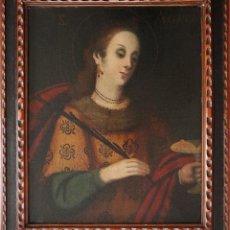 Arte: SANTA ÁGUEDA. ESCUELA DE ZURBARÁN. ÓLEO SOBRE LIENZO. S. XVII. MIDE 63 X 50 CM.. Lote 219448322