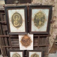 Arte: BELLO LOTE DE 5 LÁMINAS RELIGIOSAS CON MARCO ANTIGUO. JESÚS, VIRGEN, SANTOS. SIGLO XIX.. Lote 219480907