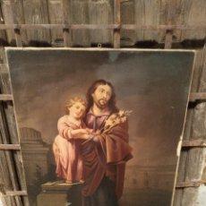 Arte: MUY BELLA LÁMINA SOBRE LIENZO DE SAN JOSÉ CON EL NIÑO JESÚS. SIGLO XIX.. Lote 219482785