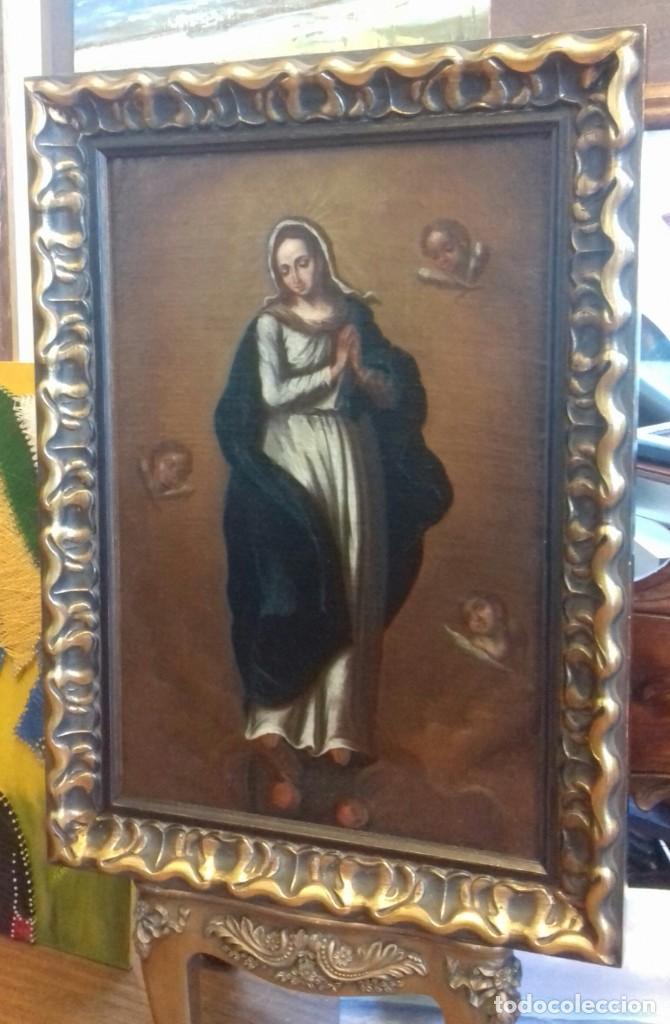 INMACULADA SIGLO XVII. LIENZO 36X52. ESCUELA SEVILLANA. RECIEN ENMARCADO. (Arte - Arte Religioso - Pintura Religiosa - Oleo)
