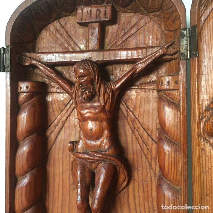 Arte: Retablo religioso Siglo XIX tallado a mano - Foto 7 - 219528110