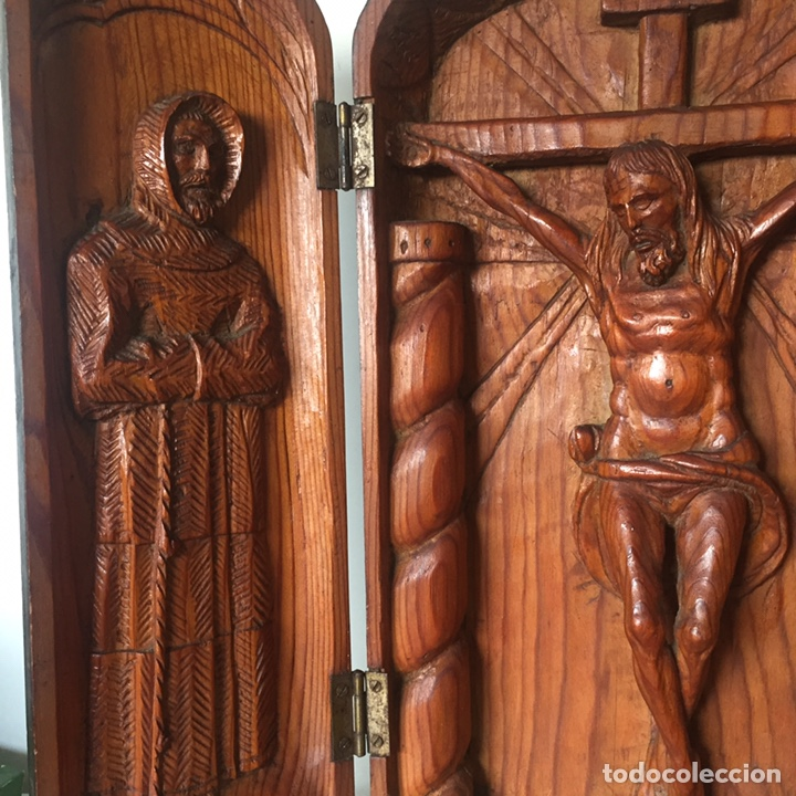 Arte: Retablo religioso Siglo XIX tallado a mano - Foto 8 - 219528110