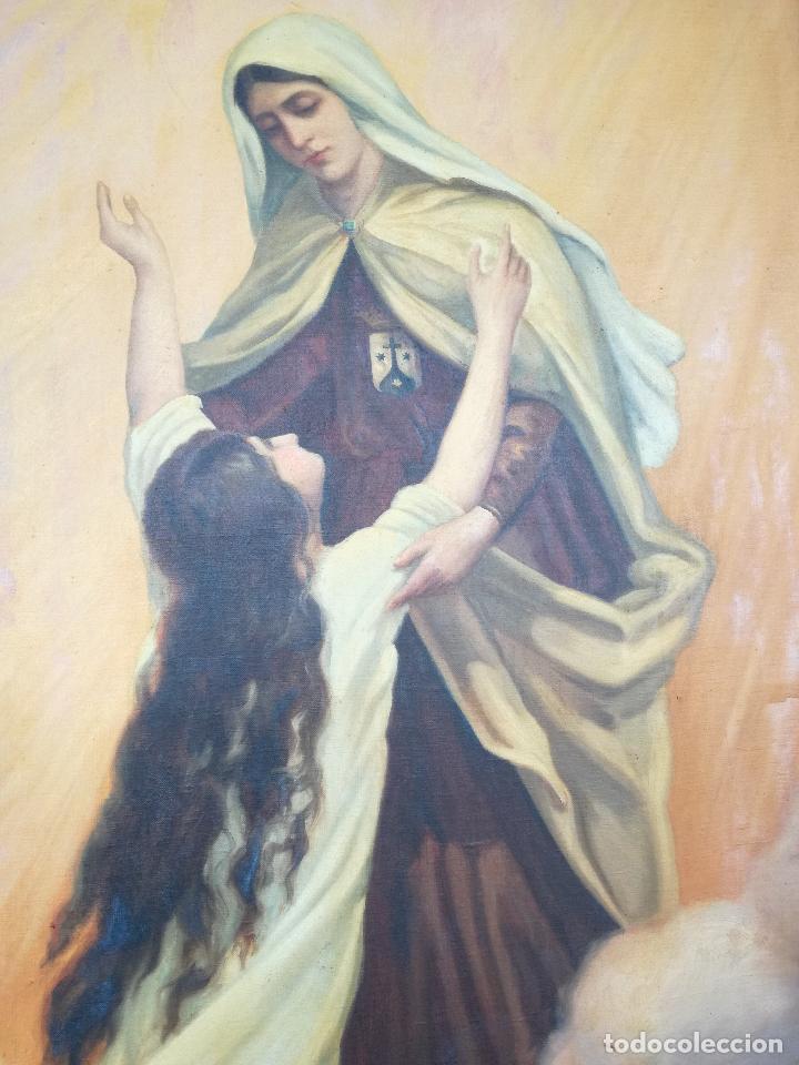 Arte: GRAN PINTURA OLEO SOBRE LIENZO- VIRGEN DEL CARMEN - ESCUELA ESPAÑOLA AÑO 1916 - MARCO: 146X106CM - Foto 2 - 219538308