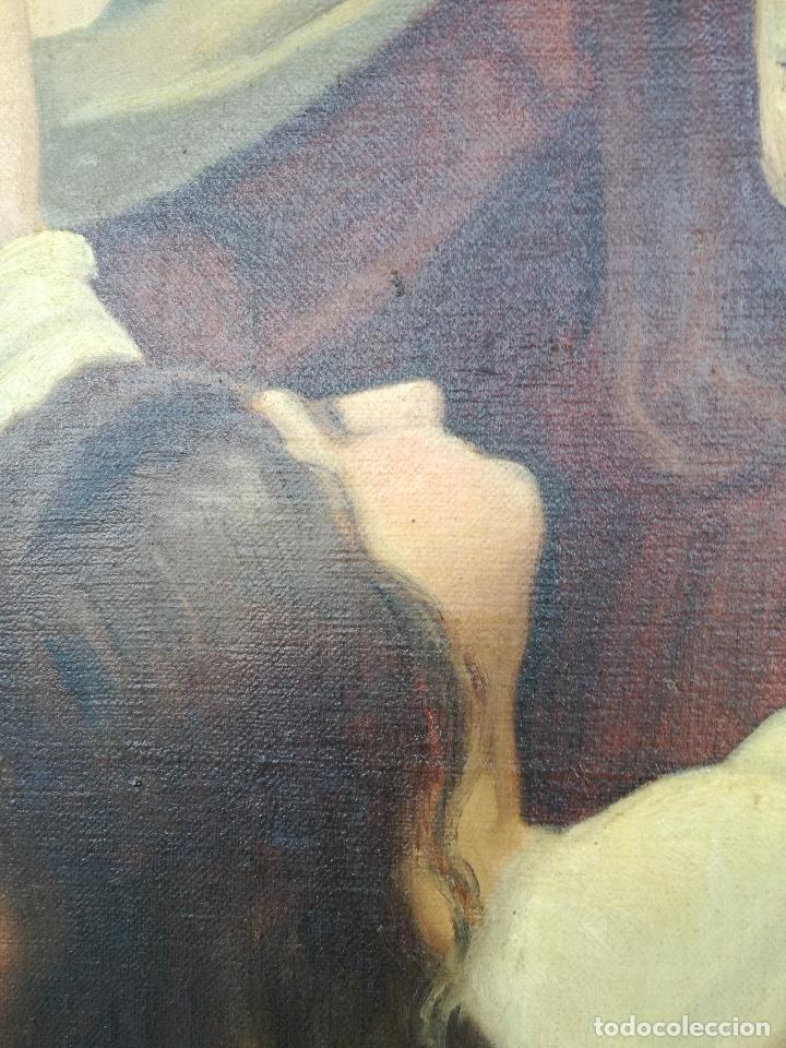 Arte: ANTIGUO OLEO SOBRE LIENZO VIRGEN DEL CARMEN - ESCUELA ESPAÑOLA FECHADO AÑO 1916 - MARCO 146 X 106 CM - Foto 4 - 219538308