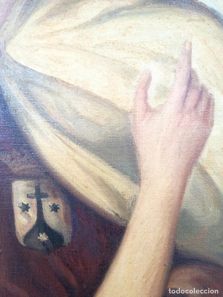 Arte: GRAN PINTURA OLEO SOBRE LIENZO- VIRGEN DEL CARMEN - ESCUELA ESPAÑOLA AÑO 1916 - MARCO: 146X106CM - Foto 5 - 219538308