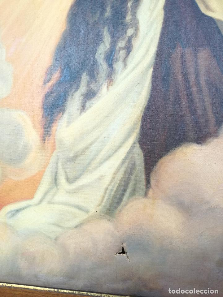 Arte: ANTIGUO OLEO SOBRE LIENZO VIRGEN DEL CARMEN - ESCUELA ESPAÑOLA FECHADO AÑO 1916 - MARCO 146 X 106 CM - Foto 7 - 219538308