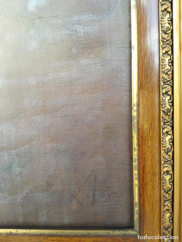 Arte: GRAN PINTURA OLEO SOBRE LIENZO- VIRGEN DEL CARMEN - ESCUELA ESPAÑOLA AÑO 1916 - MARCO: 146X106CM - Foto 9 - 219538308
