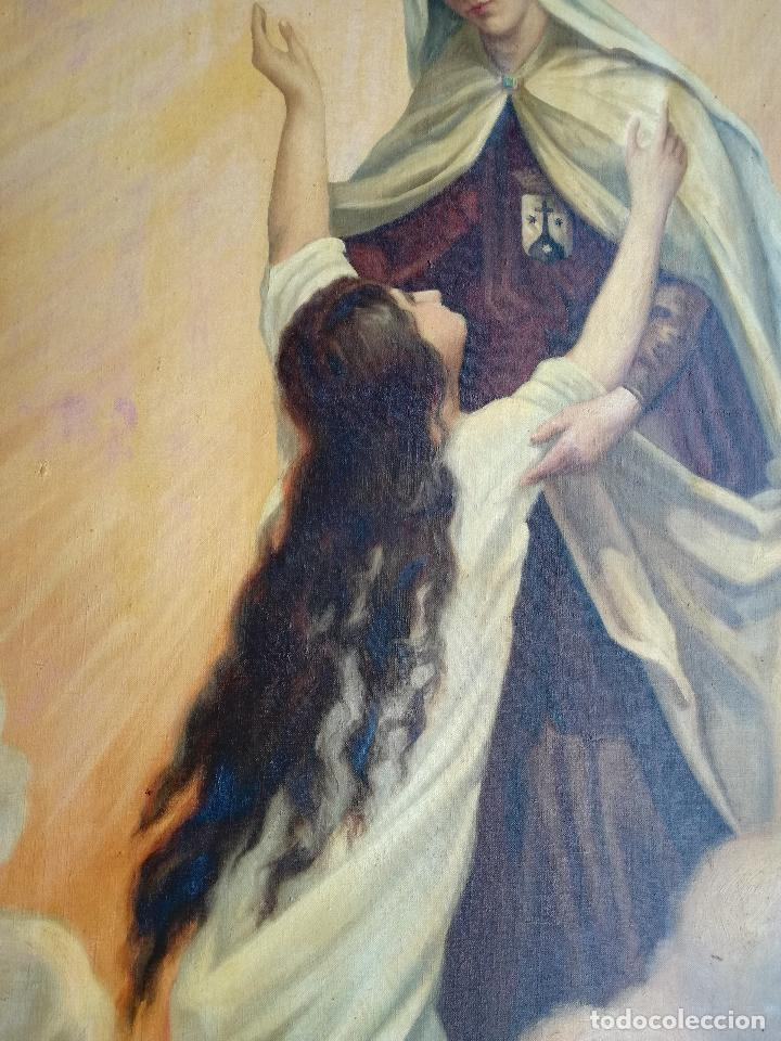 Arte: GRAN PINTURA OLEO SOBRE LIENZO- VIRGEN DEL CARMEN - ESCUELA ESPAÑOLA AÑO 1916 - MARCO: 146X106CM - Foto 13 - 219538308